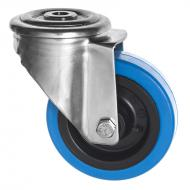 Stainless Steel Castors SS Series bolthole Blue Rubber