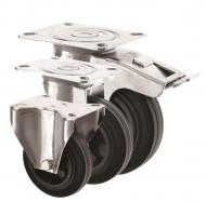 BUDGET Black Rubber Castors 2260 Series