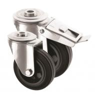 Bolt hole Castors Black Rubber Wheel 4000 Series