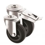 Bolt hole Castors Black Rubber Wheel 4000 Series