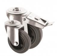 Bolt Hole Castors Grey Rubber Wheel 4000 Series
