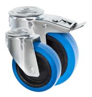 Bolt Hole Castors Blue Rubber Wheel 4000 Series