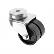 Bolt Hole Plastic Twin Wheel Castors 360 Series