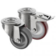 Stainless Steel Bolt Hole Castor with Polyurethane Wheel SS Series