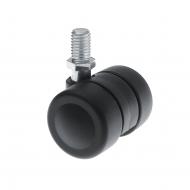 Low Level Twin Wheel Castors Stem Fitting Rubber or Plastic Wheels TW