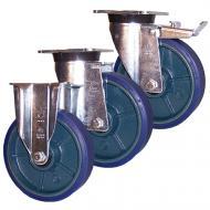 Pressed Steel P60 LAG Castors Blue Polyurethane