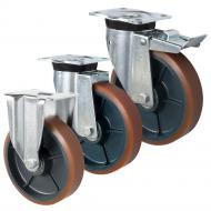 Pressed Steel P60 LAG Castors Brown Polyurethane
