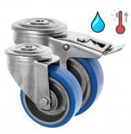 Stainless Steel Castors High Temp SS Series Medium Duty Bolt Hole High Temp Rubber Wheel