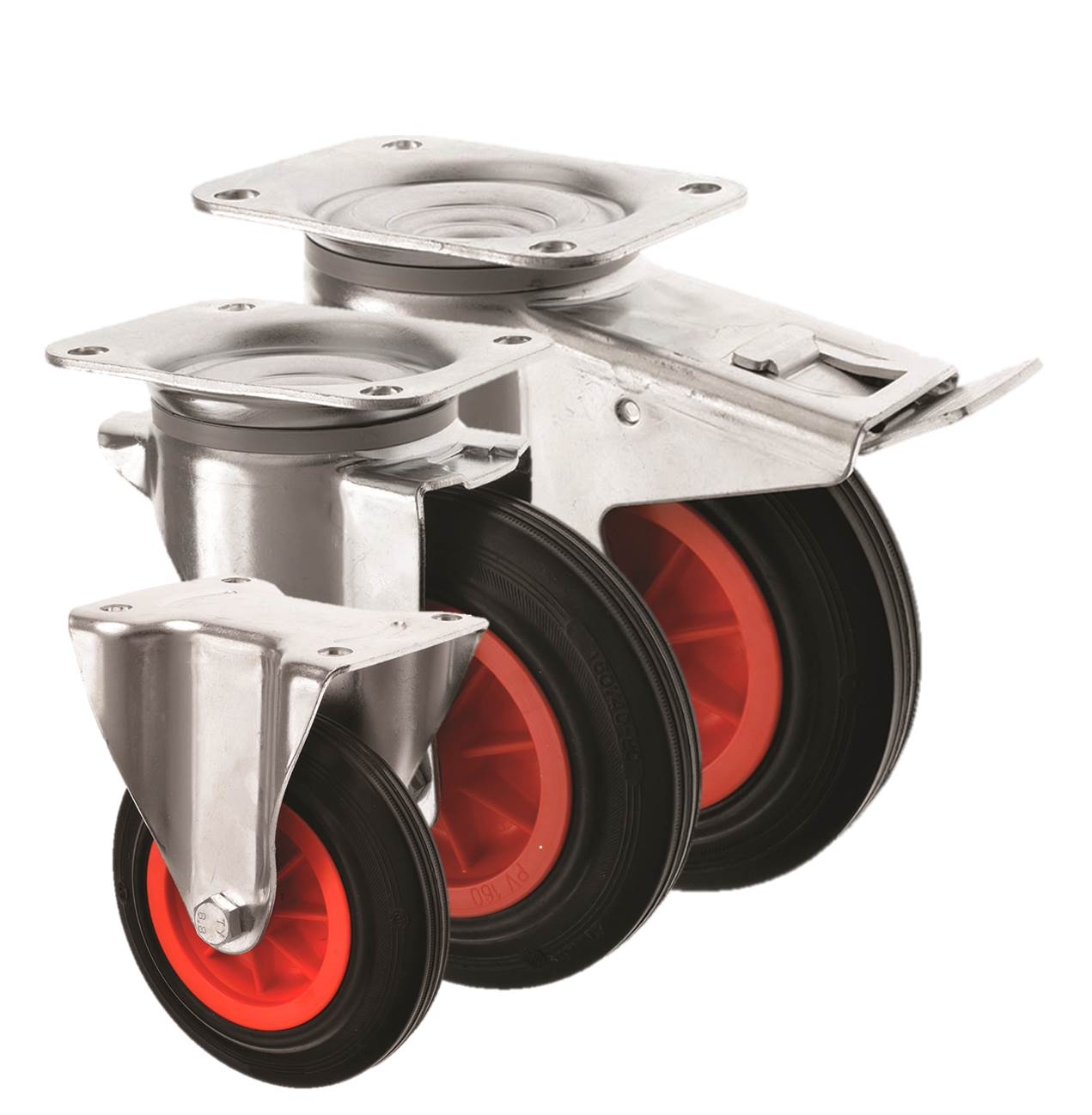 Black Rubber Castors 3360 Series
