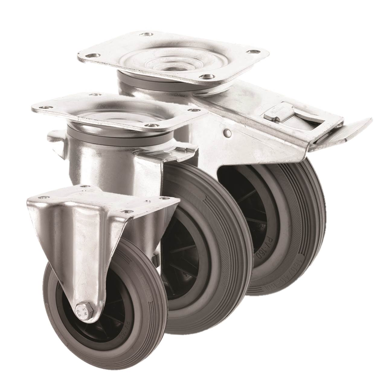 Grey Rubber Castors 3360 Series