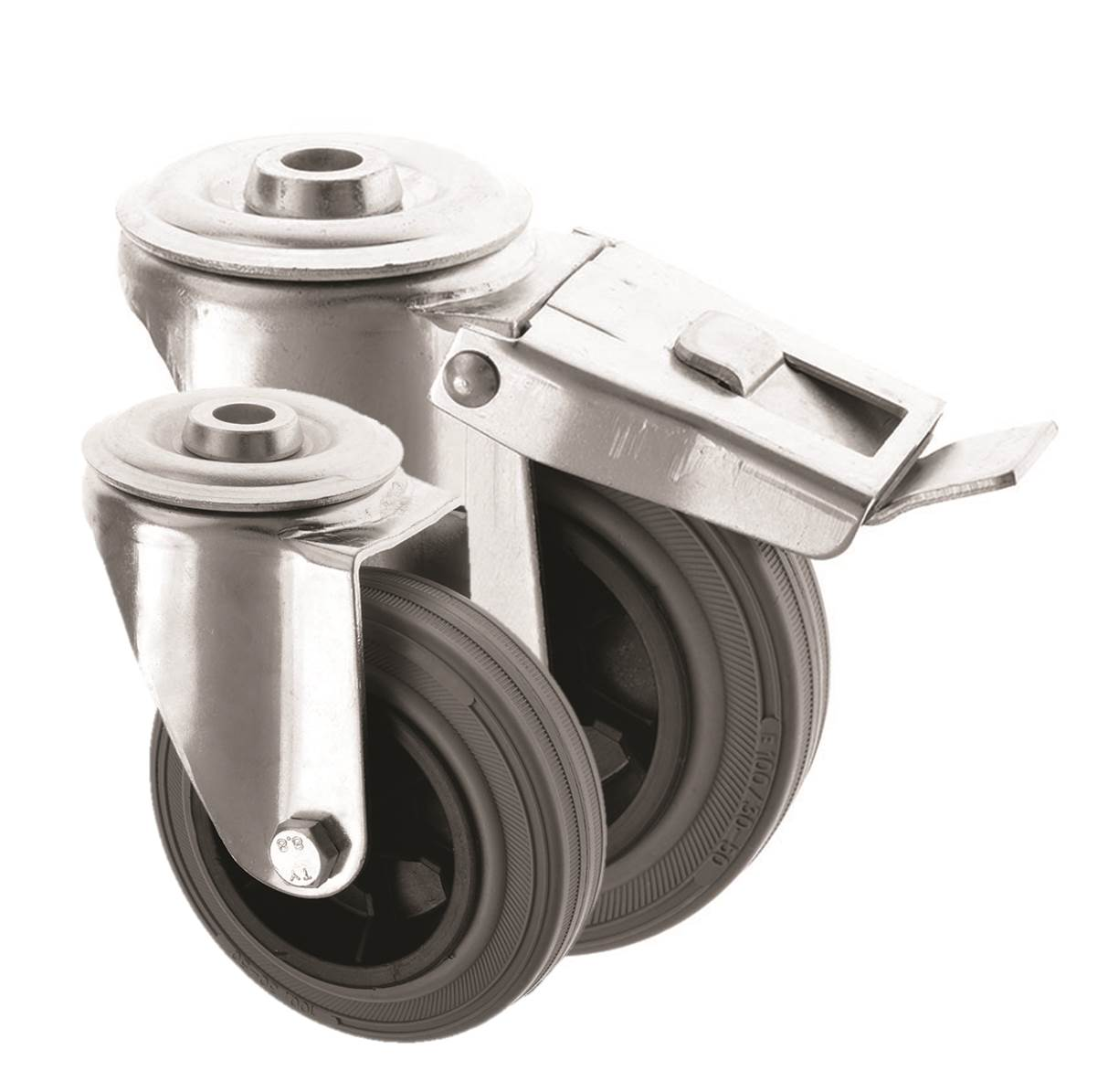 Bolt Hole Castors Grey Rubber Wheel 4000 Series