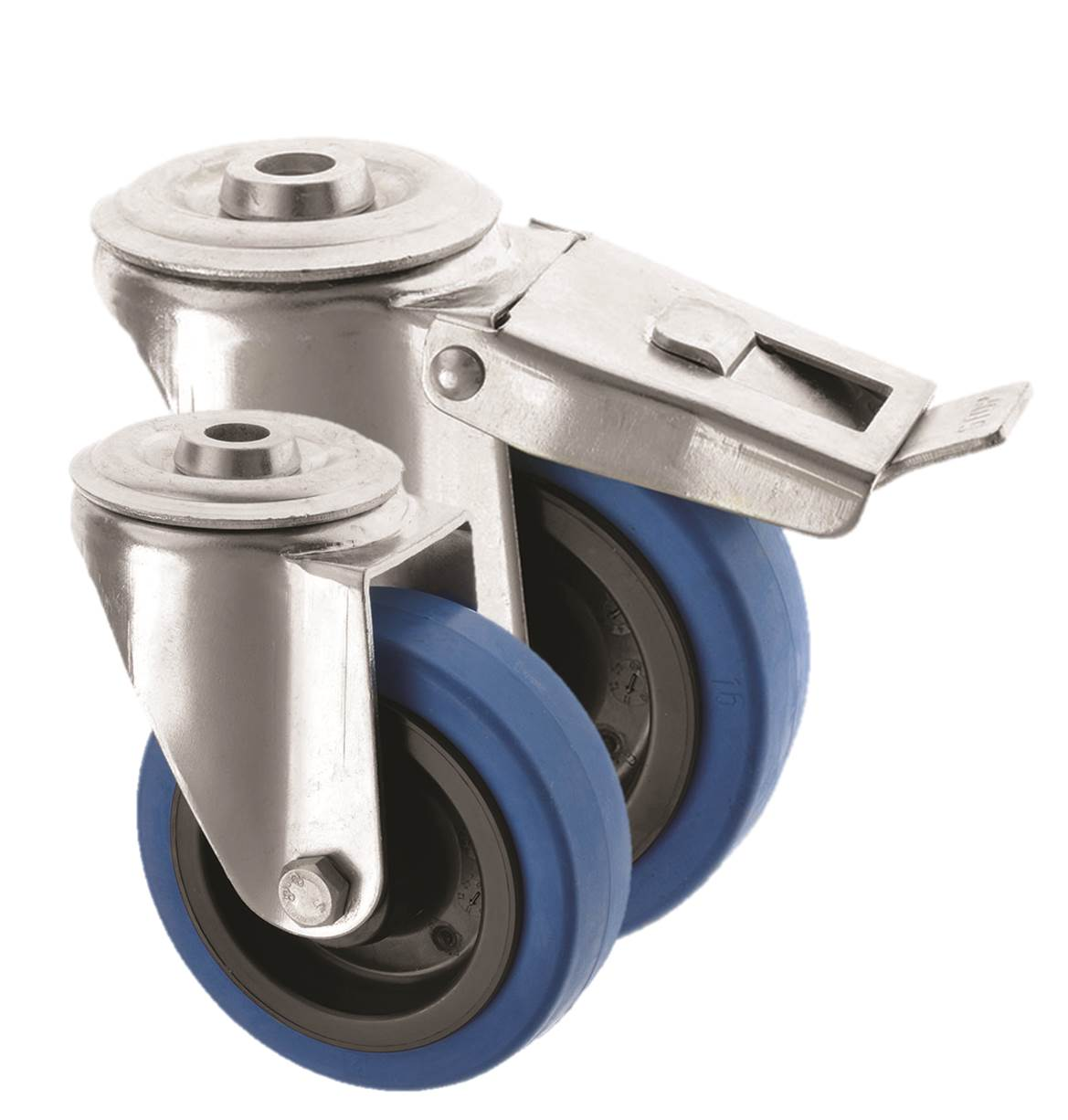 Bolt Hole Castors Blue Rubber Wheel 4000 Series