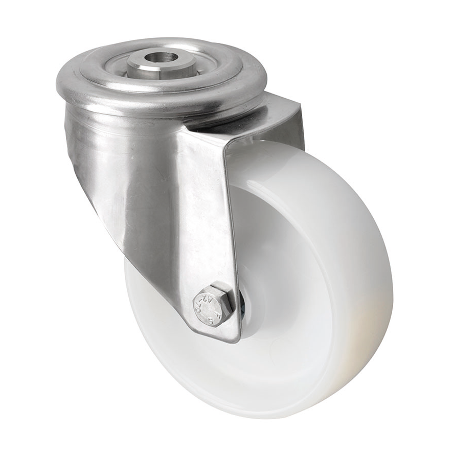 316 Grade Stainless Steel Bolt Hole Castors with Nylon Wheel