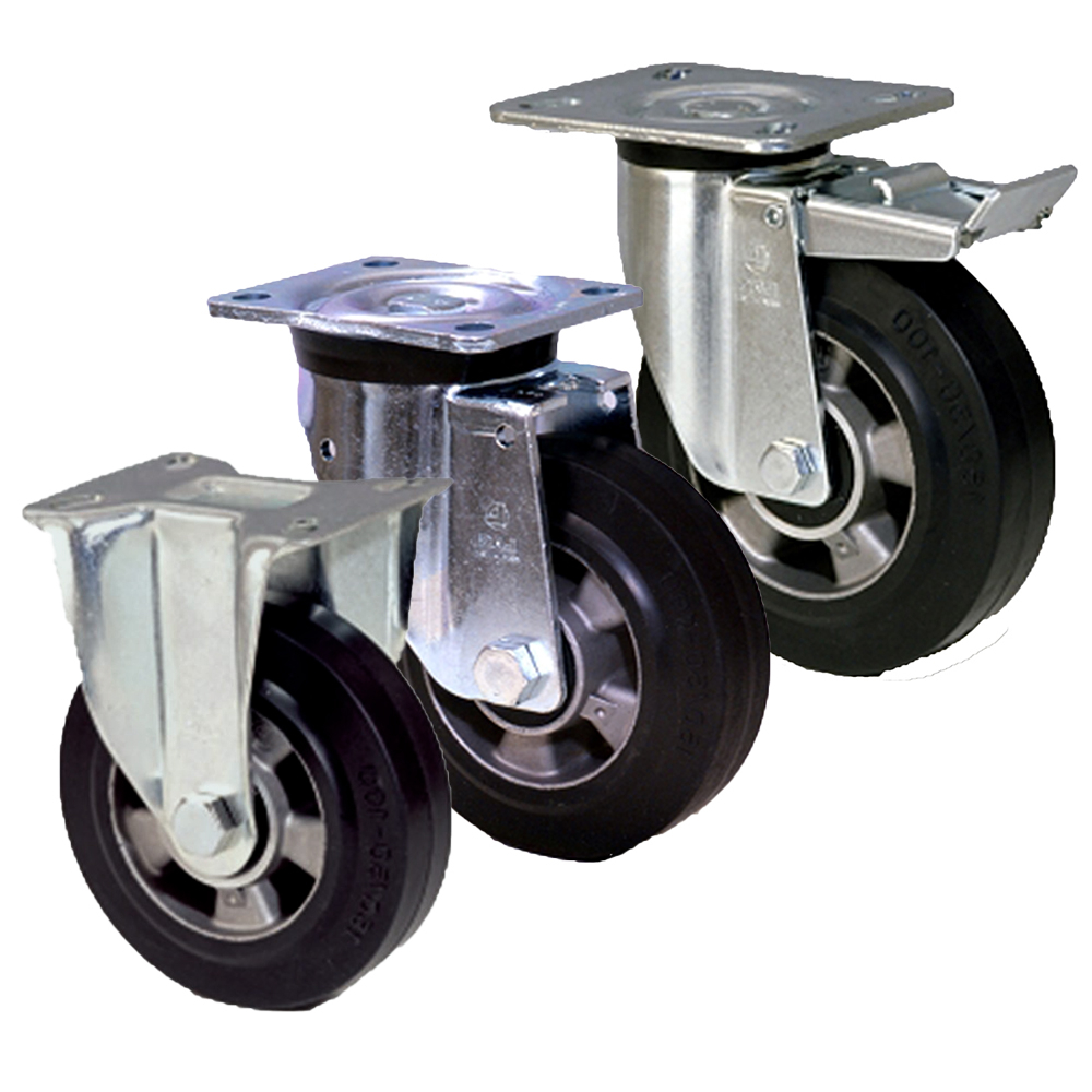 Aluminium with Elasticated Rubber LAG Castors