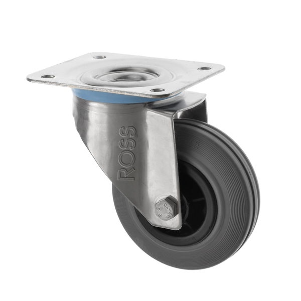 SS Series Medium Duty Stainless Steel Casters Rubber Wheel