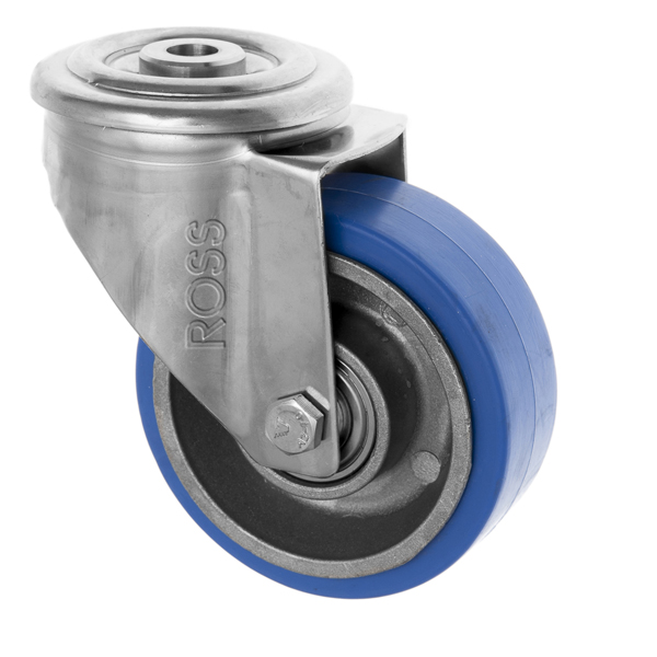 Stainless Steel Castors High Temp SS Series Medium Duty Bolt Hole High Temp Rubber  Wheel