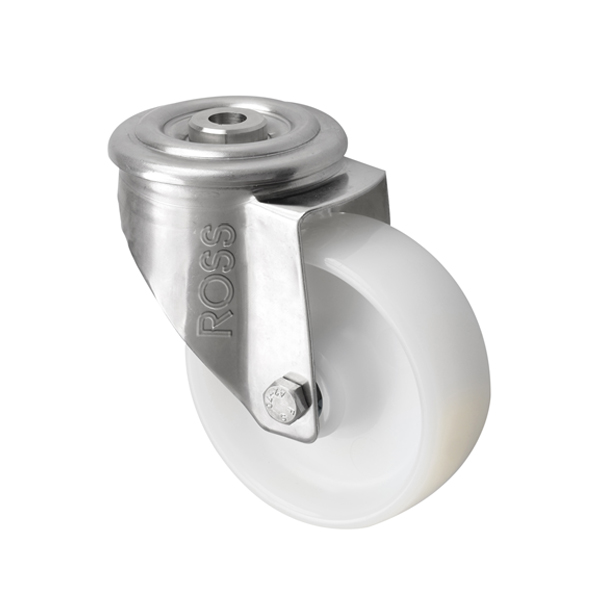 SS Series Medium Duty Bolt Hole Stainless Steel Casters Nylon Wheel