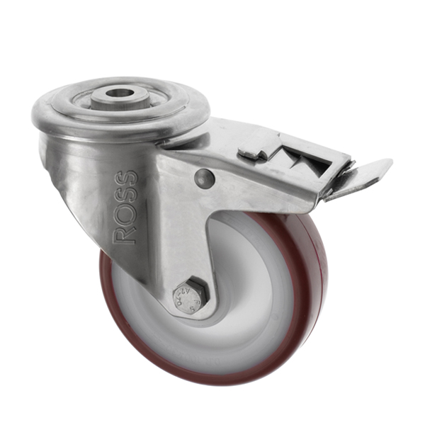 SS Series Medium Duty Bolt Hole Stainless Steel Casters Polyurethane