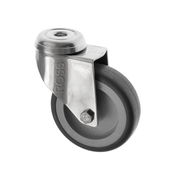 SSL Series Light Duty  Bolt Hole Stainless Steel Casters Thermoplastic Rubber Wheel