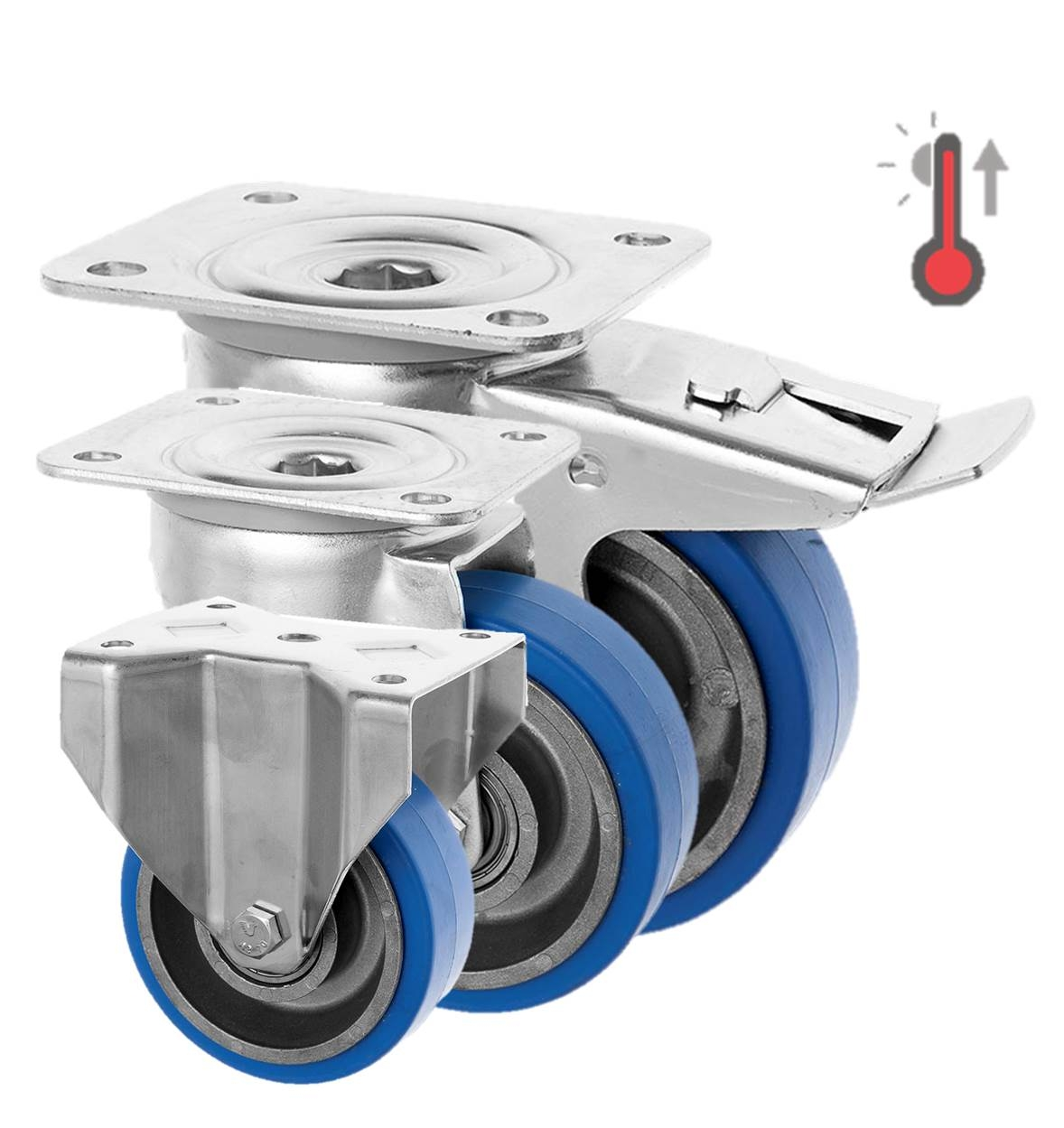 Stainless Steel Castors High Temp SS Series Medium Duty High Temp Rubber Wheel